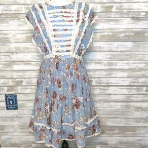 Entro NWT Floral Lace Sleeveless Blue Dress